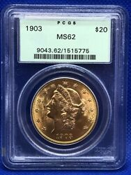 1903 Liberty Head 20 Double Eagle Gold Coin Pcgs Ms62 Eb1004175