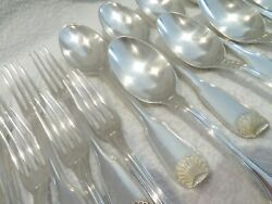 1900 French 950 Silver 24p Dessert Luncheon Cutlery Set Shells Henin And Cie