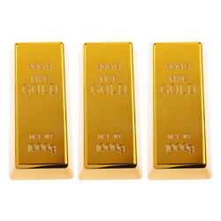 3x Solid Fake Gold Bar Prop Table Decoration Ornament Display Bullion Toy