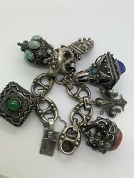Imperial Russia 84 Stamp 800 Silver Charms Bracelet Signed 7 Inches Long