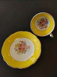 Foley China Tea Cup And Saucer Yellow Cabbage Rose Bouquet
