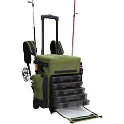 Elkton Outdoors Rolling Fishing Tackle Box Bag W/5 Removable Tackle Trays Used