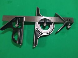 Vintage Union Tool Combo Square 5pcs Head,protractor,centerfinder,12ruleandscribe