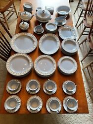 Wedgwood Queensware -cream On Lavender Lot-service For 8