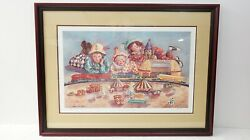 Angela Trotta Thomas Framed Artist Proof 1/25 The Circus Comes To Town Very Nice