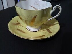Antique Tea Cup And Saucer Queen Anne Fine Bone China, Raised Leaflets, Gold