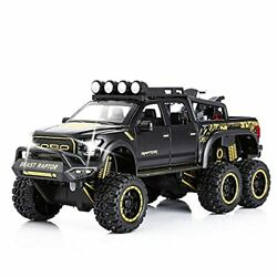Toy Pickup Trucks For Boys F150 Raptor Diecast Metal Model Car With Sound Andlight