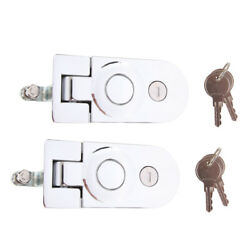 2x Stainless Steel Compression Flush Mount Push Locks Latch With Keys For Boat