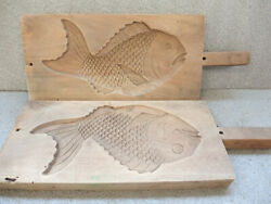 Japanese Wooden Cake Sweets Mold Kashigata Hand Carved Sea __bream With Handle