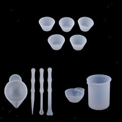 11pcs Uv Resin Color Mixing Silicone Cup Silicone Measuring Cups Stirrers