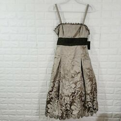 Nwt Vera Wang Womenand039s Fusion Fit And Flare Dress Spaghetti Straps Zip Back Size 8
