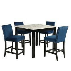5pc Counter Height Dining Set Blue Color Faux Marble Round Table And 4 Chairs