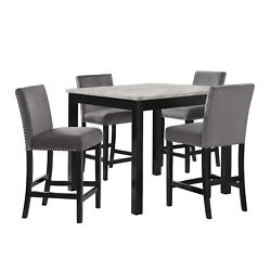 5pc Counter Height Dining Set Gray Color Faux Marble Round Table And 4 Chairs