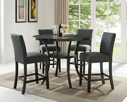 5pc Bar Size Dining Set Granite Gray Polyster Seats Dining Table And 4 Chairs