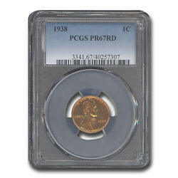 1938 Lincoln Cent Pr-67 Pcgs Red - Sku238629