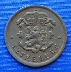Luxembourg 25 Centimes Coin, 1946 Charlotte, Km45bronze 2.5gvf299