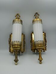 Pair Of Vintage Ornate Gold Metal Wall Sconces Electric Light Fixtures W/ Globes