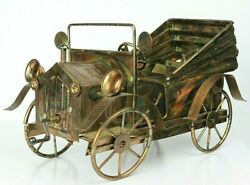 Tin Lizzy Model Antique Car Made Of Coppertone Metal With Music Box 11 Long