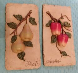 Kitchen Wall Plaques Set Apples Pears 3d French Country Rustic