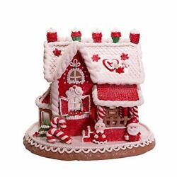 Kurt S. Adler 9-inch Red And White Santa And Mrs. Claus Gingerbread House Multi