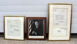 Vice President Hubert Humphrey Inscribed Photograph Signed W/ Related Documents