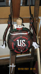 A Hand Made Leather Covered Canteen. Decorated In The Folk Art Style Of Hungray.