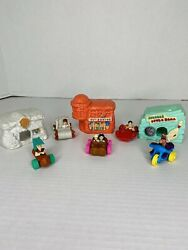 Vintage Plastic Flintstone Toys - Small Lot Of 8 In 5 Cars And 3 Rock 