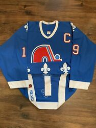 Ccm Team Issued Joe Sakic Quebec Nordiques Authentic Nhl Hockey Jersey Blue 56