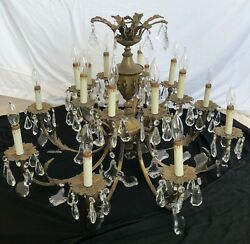 Antique Rare Brass French Crystal Chandelier Lead Empire/rococo Candle Lighting