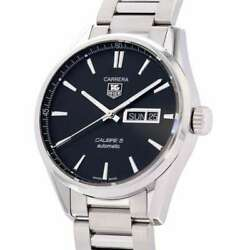 Tag Heuer Carrera Caliber 5 Day-date 41mm Stainless Steel Black Dial War201a...