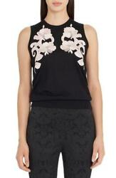 Bnwt Dolce And Gabbana Black Cashmere Floral Applique Sleeveless Top £780 It46 L