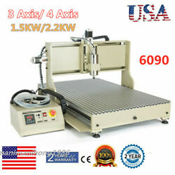 3/4axis 6090t Cnc Router Engraver Metal Milling Cutting Machine 1.5kw/ 2.2kw Vfd
