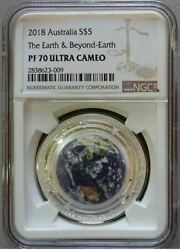 Australia 2018 S5 The Earth And Beyond Earth 1 Oz Silver Proof Coin Ngc Pf70 Uc