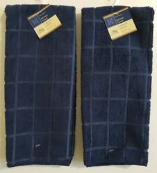 Home Collection Navy Blue Kitchen Dish Towels Windowpane 15quot; x 25quot; Set of 2 NWT