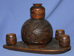 Vintage Ornate Floral Hand Carved Wood/glass Bottle And Wooden Tray