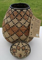 Handmade Traditional African Basket W Lid Zulu 11 Inches Tall And Original Tag