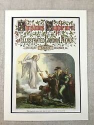 Victorian Christmas Carol Angel While Shepherds Watched Genuine Antique Print