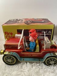 Vintage Tin Toy Me 699 Fire Chief Truck Battery Operated For Parts Repair