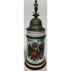 Antique Regimental Beer Stein 13th Wurttemberg Pioneer Xiii Corps 1903 W Litho