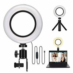 6 Led Ring Light With Clamp Mount And Tripod Stand, Canvint Selfie Video Confer