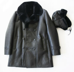 Men's Trending Three Quarter Black Wool Shearling Trench Coat With Shearling Hat