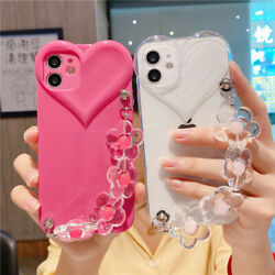 For iPhone 13 Pro Max 12 11 XS XR 8 7 Girl Cute Shockproof Love Heart Strap Case