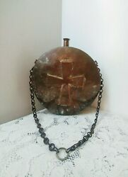 Antique Large Copper Water Vessel/canteen Embossed Cross W/old Chain Primitive