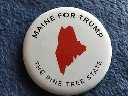 2016 Donald Trump Official Maine For Trump Authentic White Pin Back Button