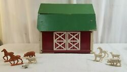Vintage Toy Wood Barn W Horse Stalls And Plastic Horses, Pigs, Sheep, And Chicken.