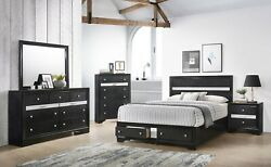 Contemporary Style Queen Size 4pc Storage Footboard Drawers Bed Set Furniture