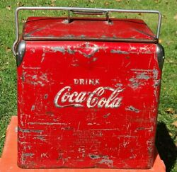Vintage Coca Cola Cooler Red 1950's Acton Mfg Co. With Bottle Opener