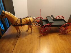 Vintage Louis Marx Company Johnny West Buckboard Wagon With Horse And Harness
