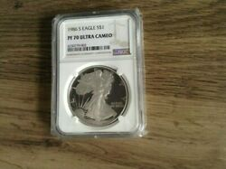 1986 Proof American Silver Eagle Ngc Pf70 First Year Eagle