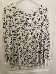Stars Above Women's Berries And Leaves Long Sleeve Waffle Knit Shirt Size Xl